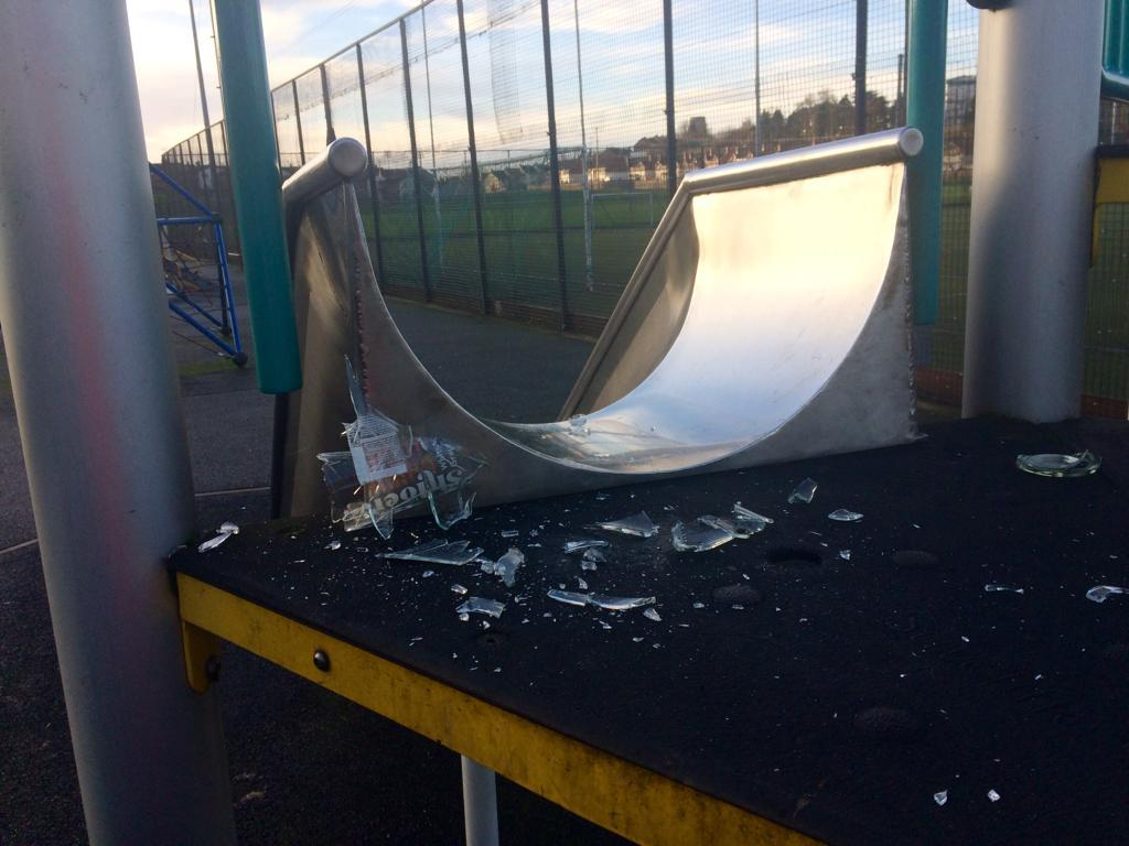 Broken glass at sherrys field childrens play park
